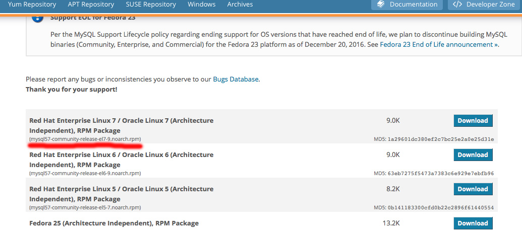 Now that you have installed mysql 57 yum repo, you can start install mysql server and client libraries yum install